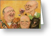 Elderly Painting Greeting Cards - Harrys Lodge Meeting Greeting Card by Shelly Wilkerson