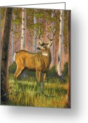 Horns Painting Greeting Cards - Hart of the Forest Greeting Card by Jeff Brimley