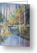 Stream Greeting Cards - Hartman Creek Birches Greeting Card by Ryan Radke