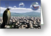 Surreal Mushrooms Greeting Cards - Harvest Day Sightings Greeting Card by Richard Rizzo