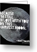 Valentines Day Greeting Cards - Harvest Moon Greeting Card by Cindy Greenbean