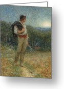 Scythe Greeting Cards - Harvest Moon Greeting Card by Helen Allingham