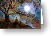 Laura Milnor Iverson Greeting Cards - Harvest Moon Meditation Greeting Card by Laura Iverson