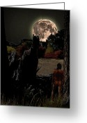 Shamanic Photo Greeting Cards - Harvest Moon Greeting Card by Norman Free