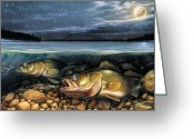 Night Greeting Cards - Harvest Moon Walleye 1 Greeting Card by JQ Licensing