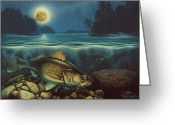 Lake Greeting Cards - Harvest Moon Walleye III Greeting Card by JQ Licensing
