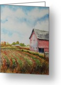Indiana Autumn Greeting Cards - Harvest Time Greeting Card by Mike Yazel