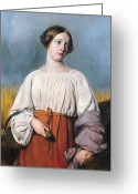 Shepherdess Painting Greeting Cards - Harvester Holding Her Sickle Greeting Card by AJB Hesse