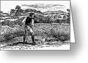 Scythe Greeting Cards - HARVESTING, c1800 Greeting Card by Granger