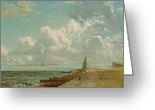 Ble Sky Greeting Cards - Harwich - The Low Lighthouse and Beacon Hill Greeting Card by John Constable