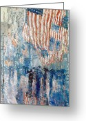 Stars And Stripes.   Greeting Cards - Hassam Avenue In The Rain Greeting Card by Granger