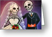 Tuxedo Mixed Media Greeting Cards - Hasta que la Vida nos Separe Greeting Card by Laura and Karina Gomez
