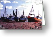 England Greeting Cards - Hastings Harbor Greeting Card by Kurt Van Wagner
