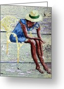 Stationery Mixed Media Greeting Cards - Hat 2 Greeting Card by Patrick J Murphy