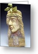Face Reliefs Greeting Cards - Hat Lady Greeting Card by Shivaun McSheehy