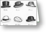 Turn Of The Century Greeting Cards - Hats of a Gentleman Greeting Card by Adam Zebediah Joseph