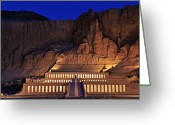 African Heritage Photo Greeting Cards - Hatshepsuts Mortuary Temple Rises Greeting Card by Kenneth Garrett