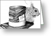 Hare Drawings Greeting Cards - Hatter and the hare Greeting Card by Meagan  Visser