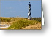Lighthouse Greeting Cards - Hatteras Lighthouse Greeting Card by Ches Black