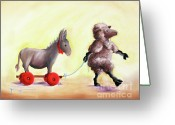 Fiber Art Greeting Cards - Haulin Ass Greeting Card by Conni Togel