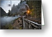 Train Greeting Cards - Hauling though the mountains Greeting Card by Patrick  Flynn
