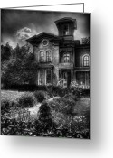 Scary Mansion Greeting Cards - Haunted - Haunted House Greeting Card by Mike Savad