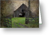 Old Barns Greeting Cards - Haunted Barn Greeting Card by Lisa Moore