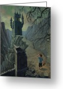 Bad Dream Greeting Cards - Haunted Castle Nightmare Greeting Card by Martin Davey