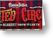 Strangling Greeting Cards - Haunted Circus Greeting Card by Juls Adams