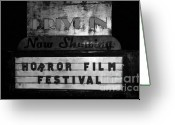 Horror Film Festival Greeting Cards - Haunted drive in Greeting Card by David Lee Thompson