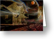 Bewitching Greeting Cards - Haunted Evening Greeting Card by Shirley Sirois
