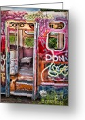 Graffiti Greeting Cards - Haunted Graffiti Art Bus Greeting Card by Susan Candelario