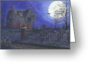 Scary Mansion Greeting Cards - Haunted House Greeting Card by Lori  Theim-Busch