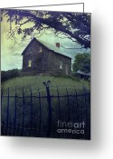 Haunted Home Greeting Cards - Haunted house on a hill with grunge look Greeting Card by Sandra Cunningham