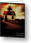 Ghoul Greeting Cards - Haunted Lighthouse Greeting Card by Edward Fielding