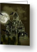 Moon With Bats Greeting Cards - Haunted mansion Greeting Card by Gina Femrite