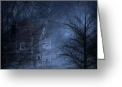 Mythology Surrealism Greeting Cards - Haunted Place Greeting Card by Svetlana Sewell