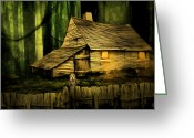 Old Wooden Fence Greeting Cards - Haunted Shack Greeting Card by Lourry Legarde