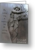 Coffin Greeting Cards - Haunting Angel Statue - Inspirational Angel Art Greeting Card by Kathy Fornal