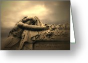 Inspirational Prints Photo Greeting Cards - Haunting Cemetery Angel Mourner Rose Casket Greeting Card by Kathy Fornal