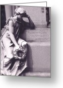 Surreal Gothic Angel Photography Greeting Cards - Haunting Cemetery Female Mourner On Grave Greeting Card by Kathy Fornal