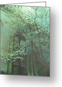 Surreal Fantasy Gothic Church Greeting Cards - Haunting Ethereal Trees Greeting Card by Kathy Fornal