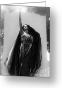 Mourner Greeting Cards - Haunting Female Cemetery Mourner Greeting Card by Kathy Fornal