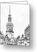 Pencil Drawing Greeting Cards - Hausmannsturm in Dresden Germany Greeting Card by Christine Till