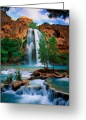 Colours Greeting Cards - Havasu Cascades Greeting Card by Inge Johnsson