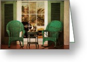 Wicker Chairs Greeting Cards - Have Tea With Me Greeting Card by Jai Johnson