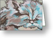 Whiskers Greeting Cards - Having a Bad Hair Day Greeting Card by Sandy Tracey