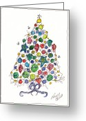 Holiday Notecard Greeting Cards - Having A Ball Christmas Tree Greeting Card by Michele Hollister - for Nancy Asbell