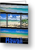 Bedroom Art Greeting Cards - Hawaii Pentaptych Greeting Card by Cheryl Young