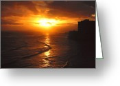 Los Angeles Pyrography Greeting Cards - Hawaii Surf Greeting Card by Russell Jenkins